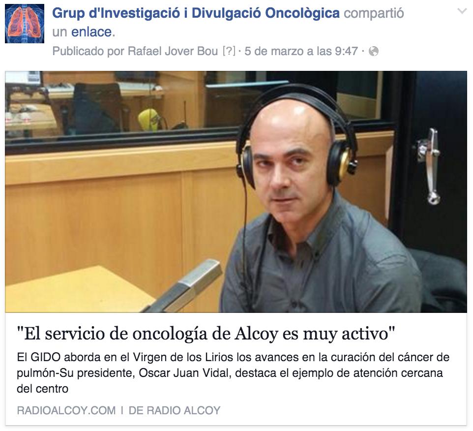 GIDO: El servicio de oncología de Alcoy en muy activo en la investigación del cáncer de pulmón